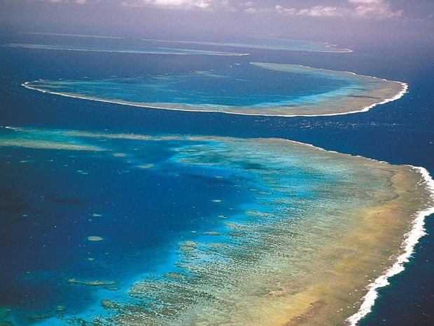 Aerial of the Great Barrier Reef.