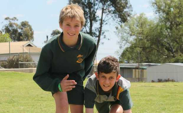 ON YOUR MARKS: St Joseph's College students Liam Hitchener and Asbjorn Gaskell competed for the Darling Downs at the Queensland Regional Athletics Titles in Cairns. Photo Daniel Elliott / Stanthorpe Border Post