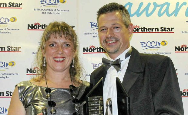 AWARD WINNERS: Anke and Michael Fellner, who own Deli 4U, won the Ballina Shire Business of the Year award last Saturday night.