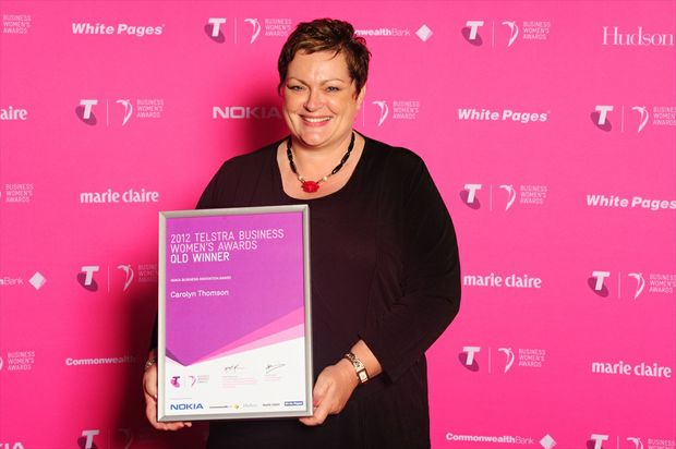 Kadoe Commercial Coatings owner Carolyn Thomson with her 2012 Queensland Telstra Business Award for innovation.