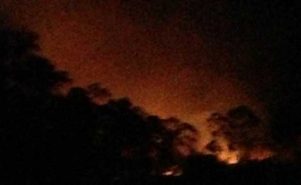 This photo by Naomi Booth, Burua, shows the glow from the Beecher fire.