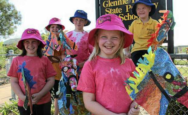Glennie Heights students can not wait to show off their creations at today's street parade. (Front - from left) Tahleah Ford, Hannah Ford, (back) Kasey Grimshaw, Callum Ford and Rylee Hill.