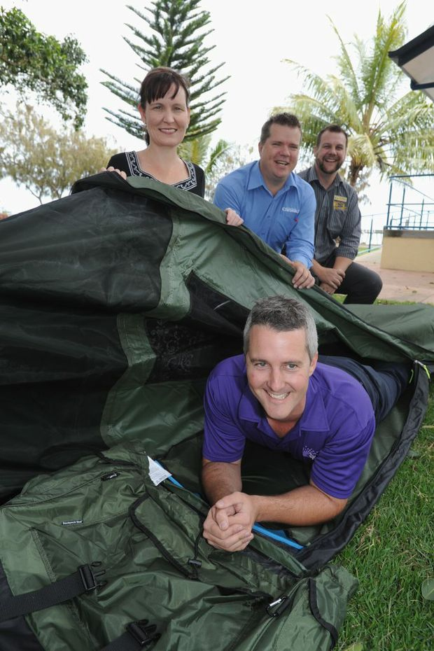 Swag for a boss charity Forty Winks boss Adam Healey tries out one of the swags that local bosses will camp out in. Fraser Coast Regional Council CEO Lisa Desmond, Fraser Coast Chronicle general manager Darren Bosley and Hervey Bay RSL's Troy Sorrensen.