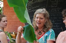 Jude Fanton during one of her cooking demonstrations during the Seed Savers open garden.