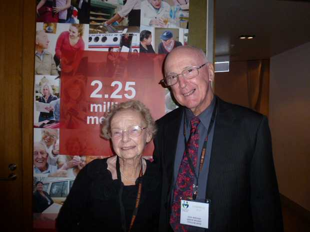 Erla Irving with Queensland Meals on Wheels president Don Wikner. Photo Contributed