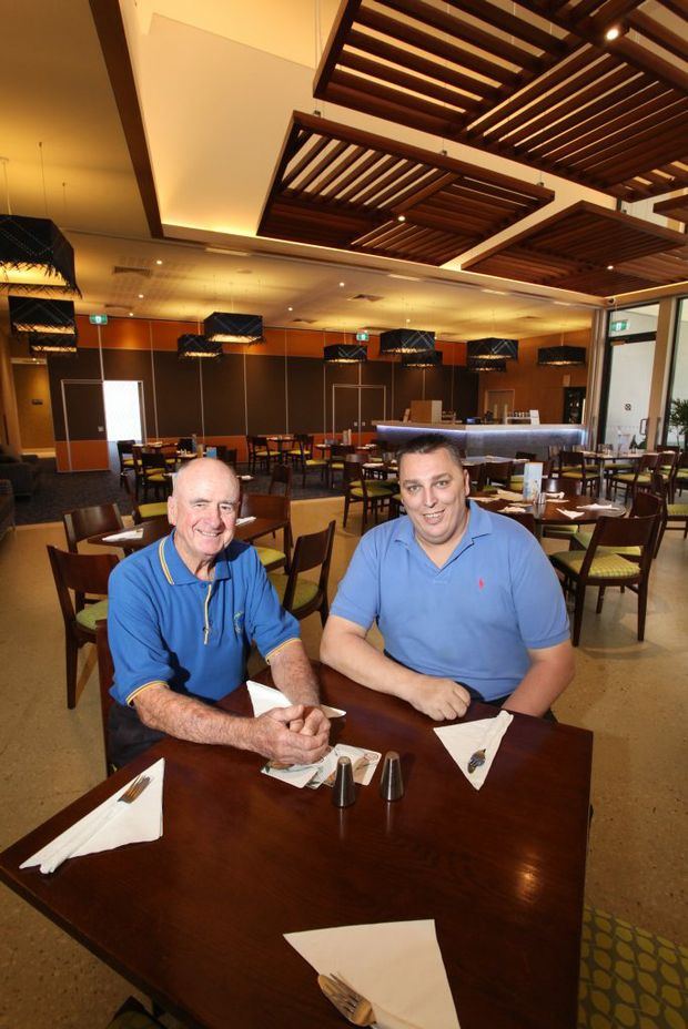 Don Collins and Michael Burgess in the new extensions built at the Blue Fin Fishing Club's restaurant. Photo: Inga Williams / The Satellite