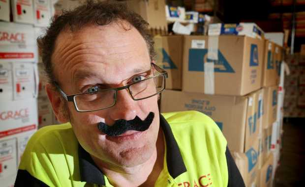John Egan from Grace Records donning his mo' for a good cause. Photo: Inga Williams / The Satellite
