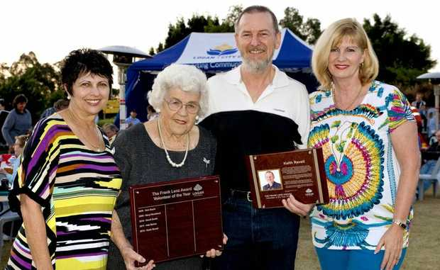 WELL DONE: 2011 Volunteer of the Year Ada Banks, Dorothy Lenz, 2012 Frank Lenz Volunteer of the Year - Keith Revell and Mayor Pam Parker. Photo: Supplied