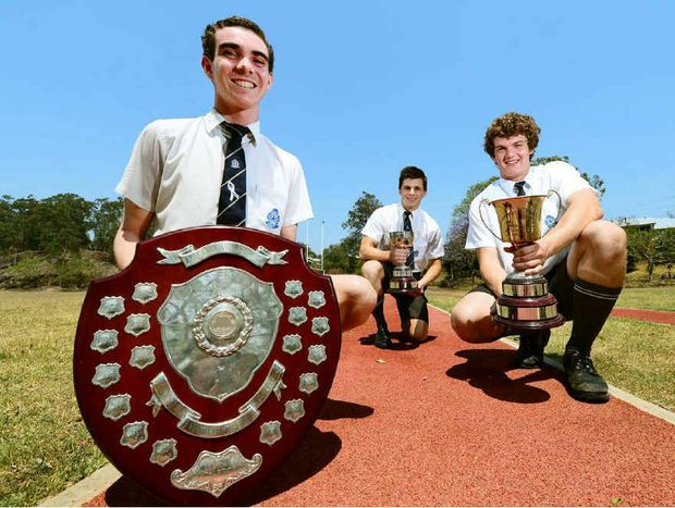 TOP HONOURS: St Edmund's College athletics captain Connor O'Leary (left), with vice captains Damian Kukulies (centre) and Harley Niesler after their recent haul of trophies.