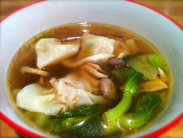 Miss Foodie's wonton soup w/ Asian mushrooms and bok choy.