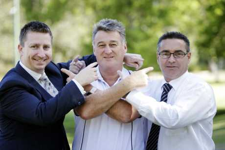 Commerce Caboolture president Robert Pitt, CBEC manager Geoff McKenzie and CBD Traders president Brandt King will raise awareness and funds for Movember.