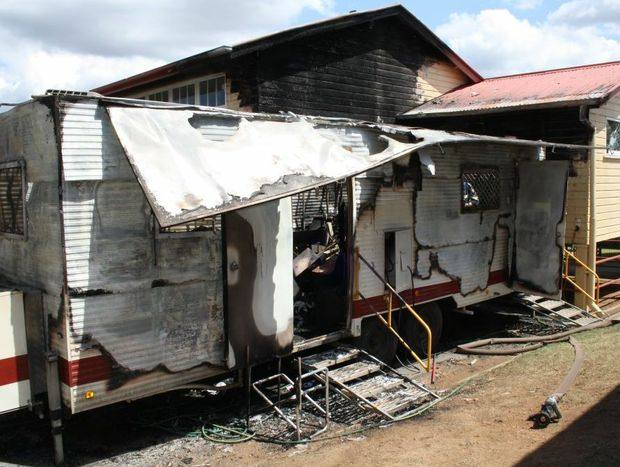 A mobile dental van was destroyed in a fire Tuesday night at the Gatton State School.