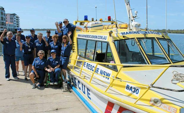THANKS, BALLINA: The Ballina Marine Rescue volunteers, pictured with the group's rescue vessel, thank the community for supporting the annual boat show on the October long weekend.