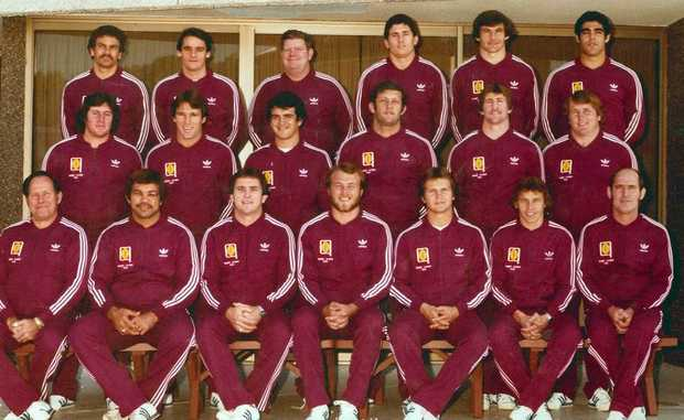FAMILY MAN: Daryl Gatley (third from left back row) with the 1981 Maroons. Photo: Contributed