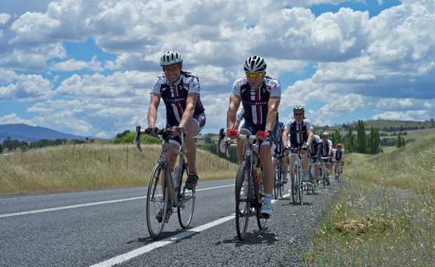 Steve Quinn and the Paceline team on their ride from Canberra to Melbourne last year. Photo: Contributed