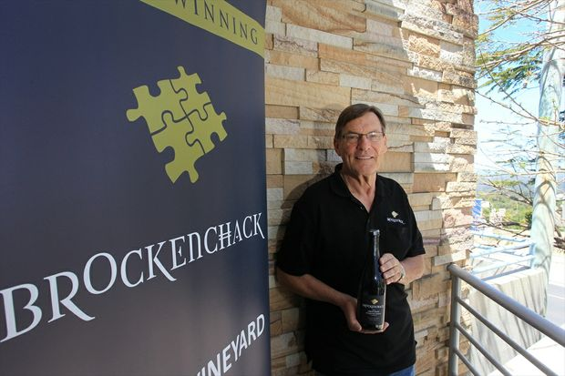 Trevor Harch with his Brockenchack 2011 Great Scott Sparkling Shiraz, made in honour of his late son-in-law Scott Pollock.