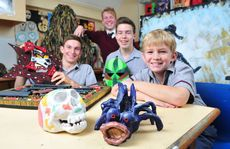 Ipswich Grammar School students Dnail Busch, Nick Baker, Jarrod Bravin and Campbell Ross all have art pieces in the Ipswich Grammar School 2012 Art Show. Photo: Rob Williams / The Queensland Times
