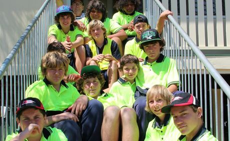 The boys from the Warwick State High School Mount Gordon Flexi Campus almost two months since the school first opened.