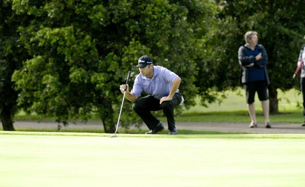 Terry Pilkadaris lines up a put at this year's Queensland PGA Championship at City Golf Club.