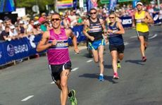 The athletes each completed one leg of the triathlon which included a 200m swim, 4km bike and 1.2km run along the famed Noosa Parade in front of the festival VIP Marquee.