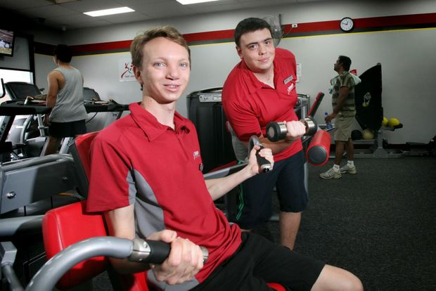 Tyler Haigh, 21 and Daniel Wright, 19 have both gained employment at Snap Fitness through job placement. Photo: Inga Williams / The Satellite