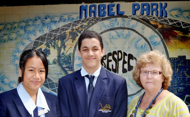 Carolyn Crichton, 15 and Jacob Dwyer, 15 and Judy Fewtrell at Mable Park State High School where they have just been awarded the Career Education Award. Photo: Ashleigh Howarth / The Reporter