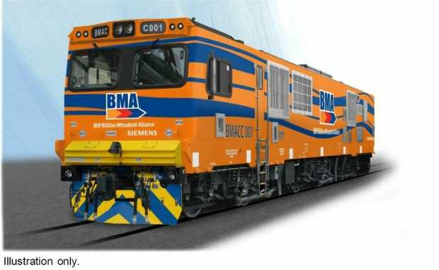 Artist illustration of a new rail locomotive planned to service BMA's new coal mines.