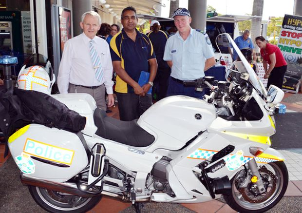 Cr Russell Lutton, Deva Naiker and Scott Lacey at The Grand Plaza Road Safety Expo. Photo: Supplied