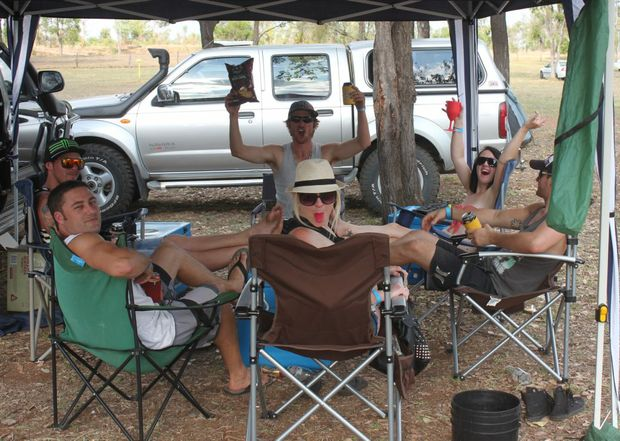 Some punters from Mackay begin their festivities on Saturday afternoon. Photo Kathleen Calderwood / The Rural Weekly