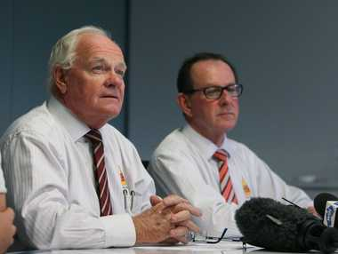 Geoff Murphy and Denis Keeffe at the annoucement of the formation of a junior CQ NRL Bid representative team. Photo Chris Ison / The Morning Bulletin ROK200511cleague4