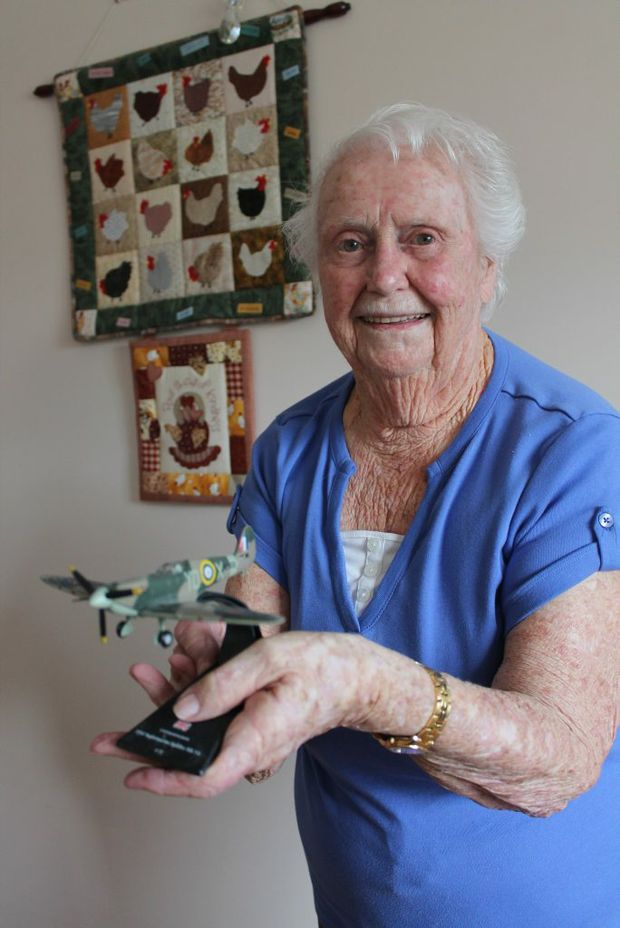 UP AND AWAY: Norma Marsh's favourite aeroplane has always been the WWII Spitfire. Photo Daniel Elliott / Stanthorpe Border Post