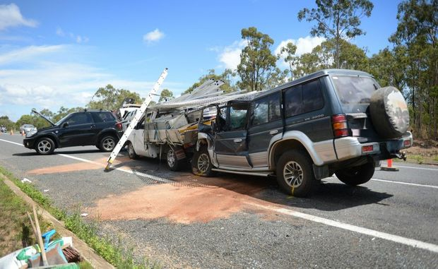 Four cars were involved in a crash on the Bruce Hwy, south of Tannum Sands turn-off, on Wednesday.