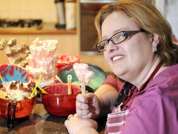 Linda Lester of Treats Chocolate in her Harristown home kitchen.