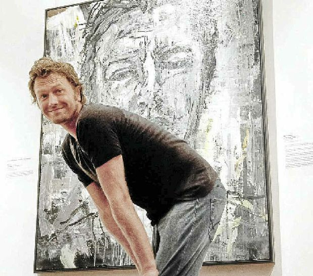 HEADS UP: Vlad Kolas with his self-portrait Other Side of Midnight that won the 2012 Northern Rivers Portrait Prize.PHOTO: Richard Windeyer
