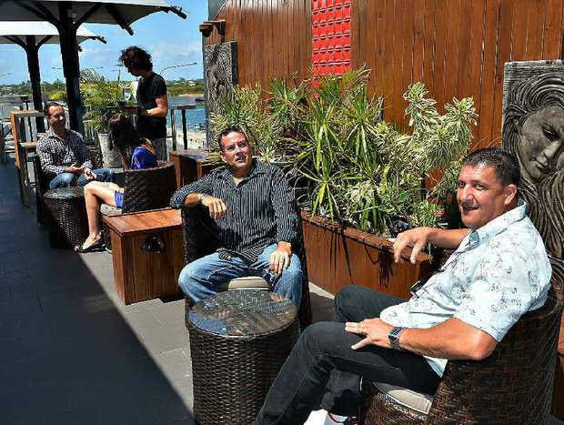 Mike Haber and Gerard Falzon relax on the rooftop bar Mojo, at the Ambassador Hotel, after months of renovations.