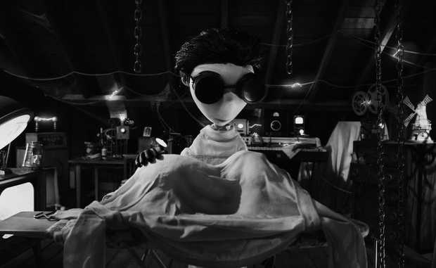 In this scene from the movie Frankenweenie, surrounded by equipment in his attic lab, Young Victor (voiced by Charlie Tahan) attempts to bring his beloved dog Sparky back to life with lessons he learned about electricity from his science teacher Mr. Rzykruski (voiced by Martin Landau).