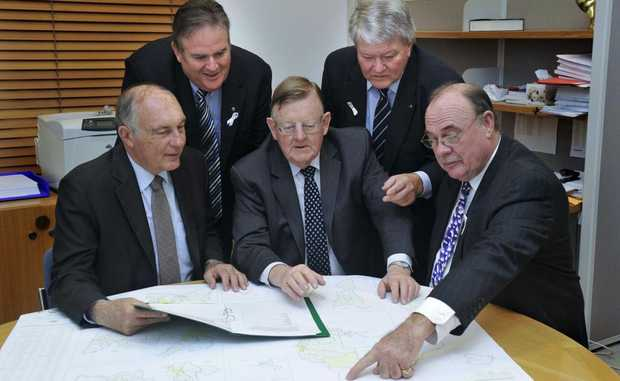 Federal LNP Member for Leichhardt Warren Entsch (right) slammed findings in a Bruce Hwy report. Just months ago he met with (left) MP's Warren Truss, Paul Neville, Ewen Jones and Ken O'Dowd to discuss the notorious road's future.