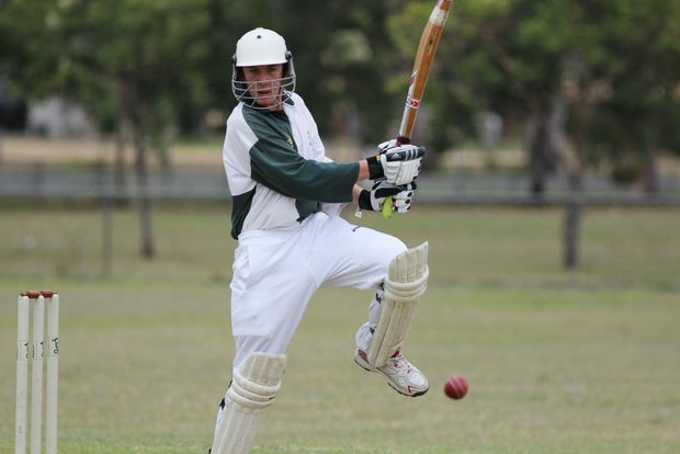 MORE RUNS: Dillon Marks rocks on to his back foot to place the ball past point during his unbeaten 26-run innings for Colts against Primed XI.