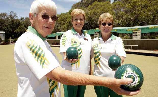 Faye Pendreigh and Dorren O'Halloran and Doreen Pennery are excited about the Bongaree Bowls Club diamond jubilee.