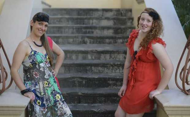 Janaya Ray and Danielle Beretta model op-shop clothes from Endeavour Clothing in Gladstone.