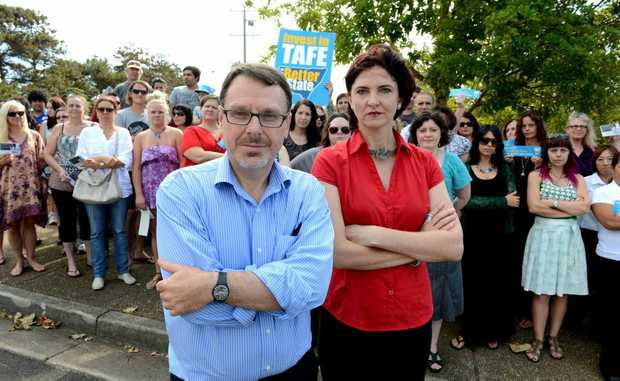 John Kaye and Therese Murphy at the protest at Kingscliff TAFE. Photo: John Gass / Daily News