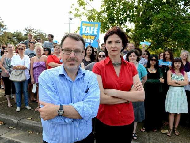 John Kaye and Therese Murphy at the protest at Kingscliff TAFE. Photo: John Gass / Daily News