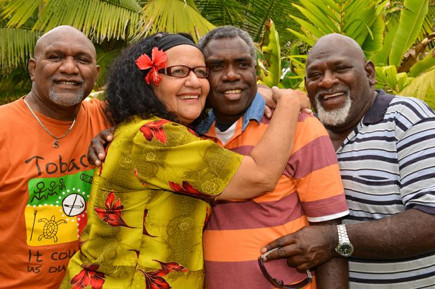 FAMILY: Salwyn Johnson Senior, Jane Smith, Fredrick Abel and Kel Nagas Senior are overwhelmed with emotion after they were reunited after 28 years.  Photo: Scottie Simmonds / NewsMail