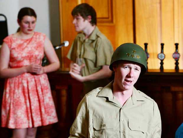 NOT FORGOTTEN: Ipswich Musical Theatre Company production of Songs That Won the War at the Old Courthouse. Performers (from left) are Tahlya Grennar, Jacob Olsen and Simon Drew (front).