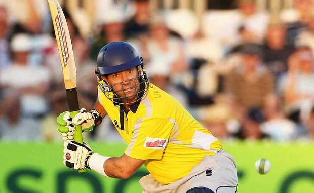 ON THE ATTACK: Queensland dynamo Stuart Law playing for Derbyshire against Nottinghamshire in a Twenty20 match.