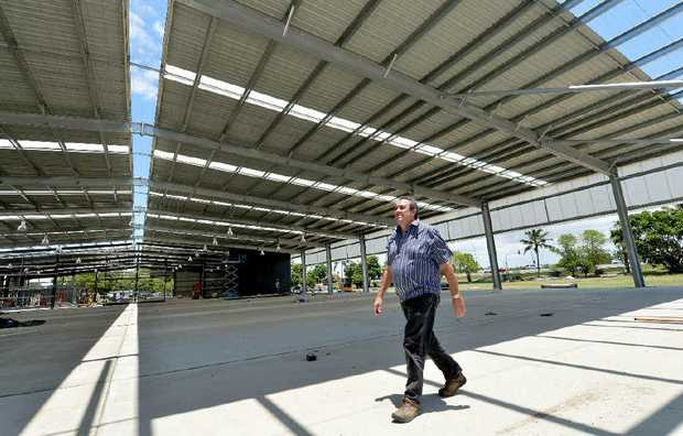 Mackay Show Society secretary-manager Steve Gavioli inspects the new pavilion, which should be completed next month. The pavilion will host the Saturday markets as well as other functions.
