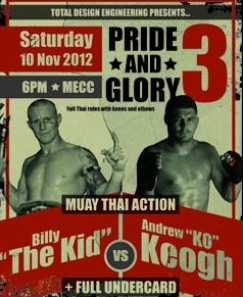 Andrew 'KO' Keogh will take on Billy 'The Kid' Degoumois at the MECC.