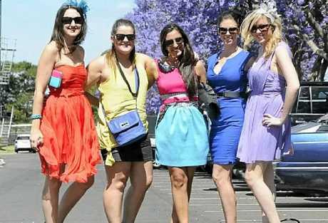 COLOUR SPLASH: At Clifford Park are Chloe Wear, Angela Holland, Melissa Monica, Lauren Palmer and Amy Walker.