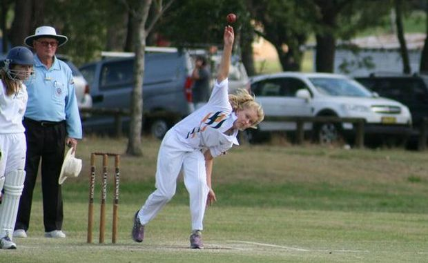 Grafton's Kaitlin Pardoe bowls for North Coast in the NSW PSSA girls cricket championship in Lismore this week.