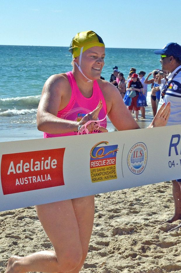 Maroochydore's Miranda Bell wins the open surf race at the world surf life saving championships in Adelaide.